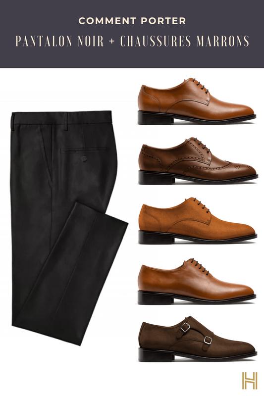pantalon noir et chaussures marrons