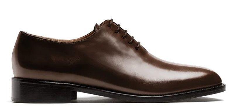 brown wholecut shoe