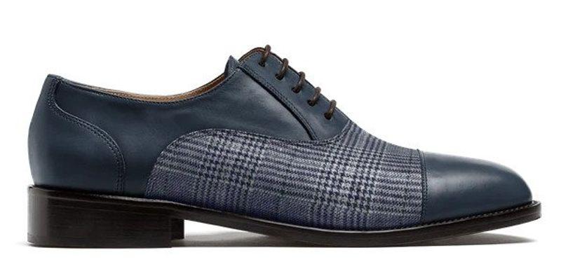 blue cap toe shoe