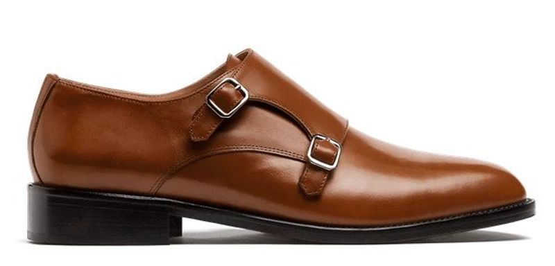 brown leather monk straps