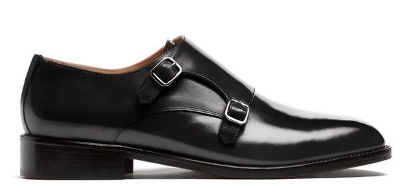 black double monk strap