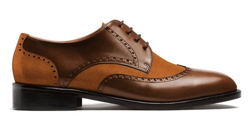 brown leather and suede wingtip shoes