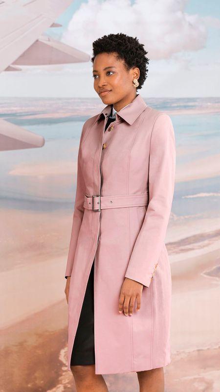 pink women trench coat