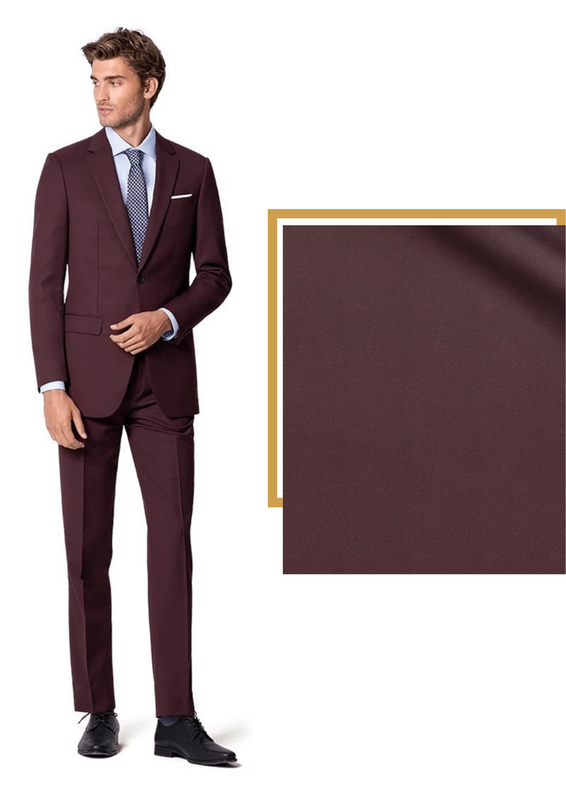 red burgundy suit