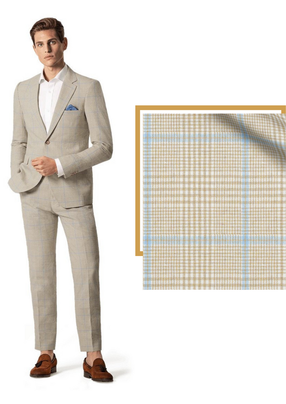 beige checked suit