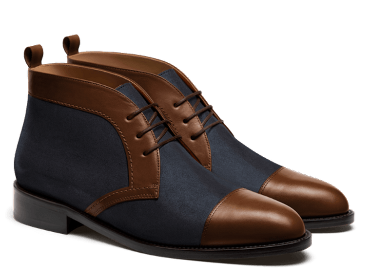 brown and blue chukka boot