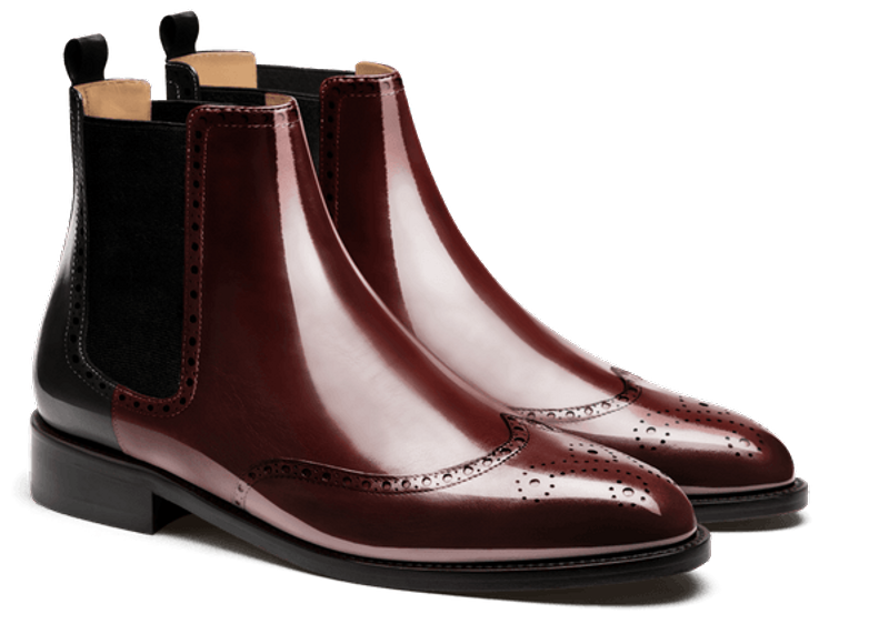 burgundy chelsea men's boot