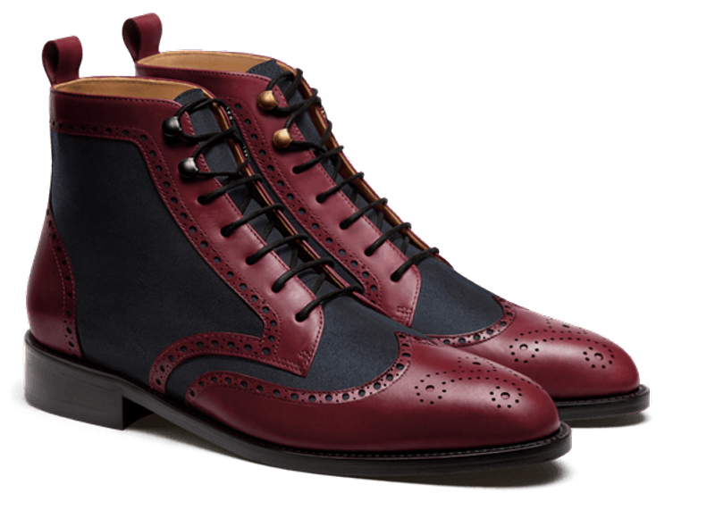burgundy and blue men's boots