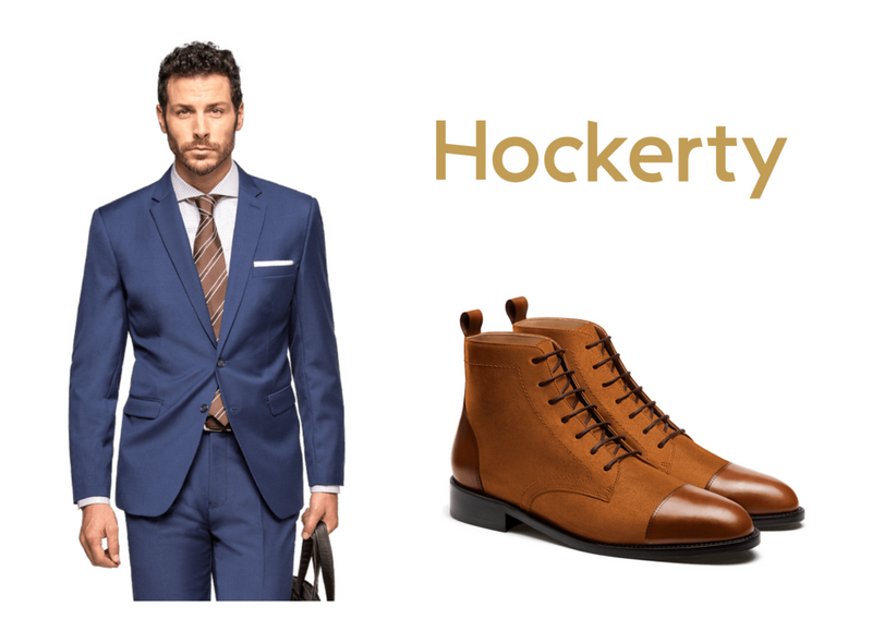 blue suit with brown boots