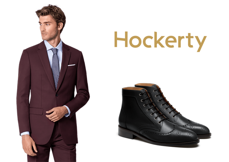 burgundy suit with black boots