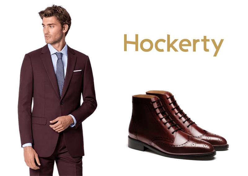 burgundy suit boots combination
