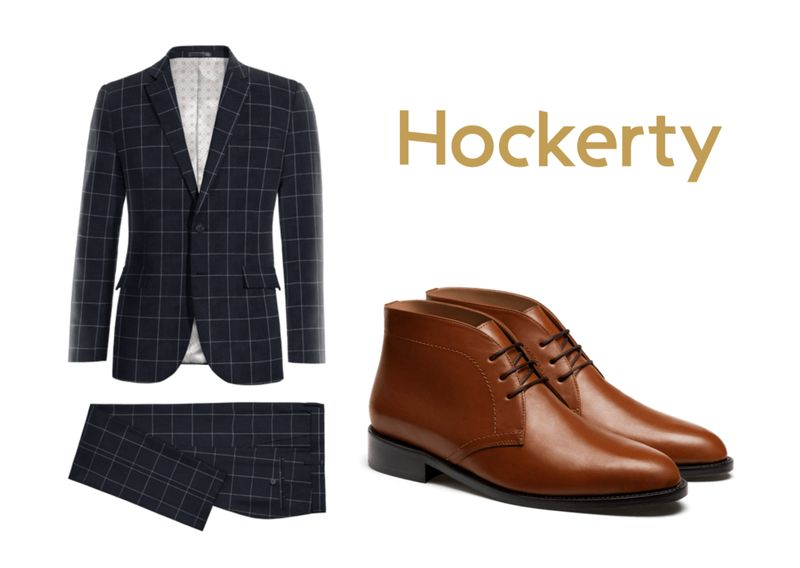 checked suit with chukka boots
