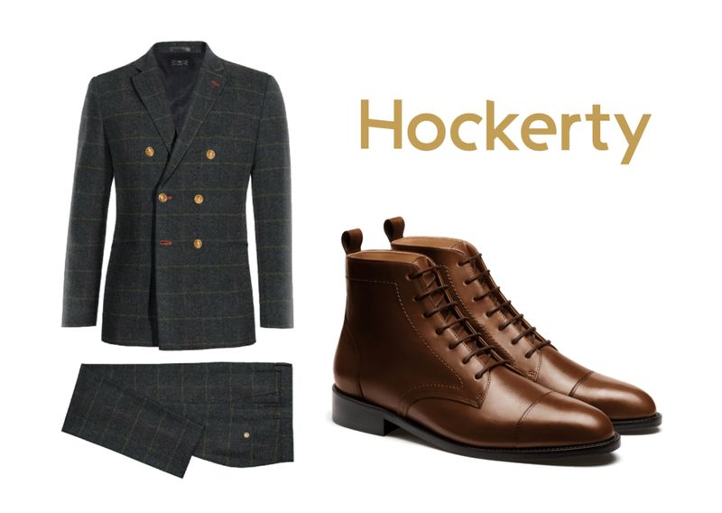 tweed suit dress boot outfit