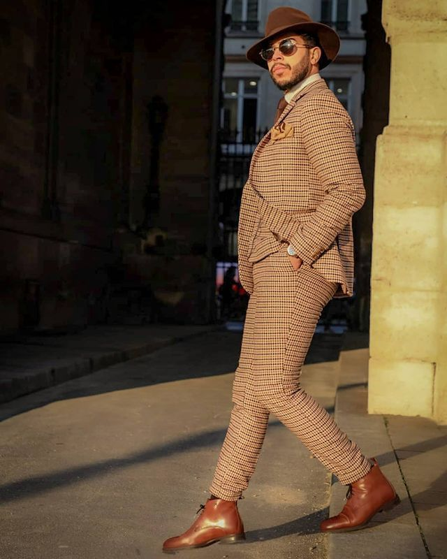 hockerty brown boots with a checked suit