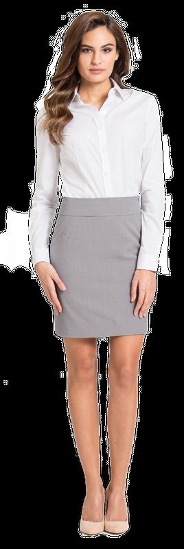 white shirt grey skirt