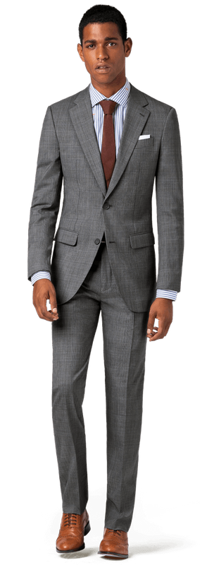 charcoal suit with brown shoes