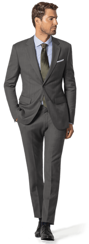 charcoal suit with black shoes