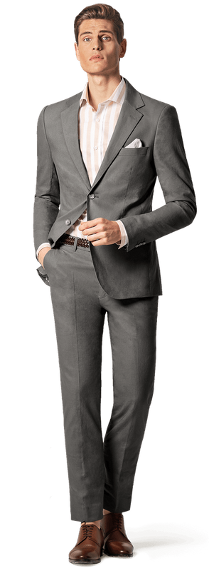 charcoal grey suit with shirt