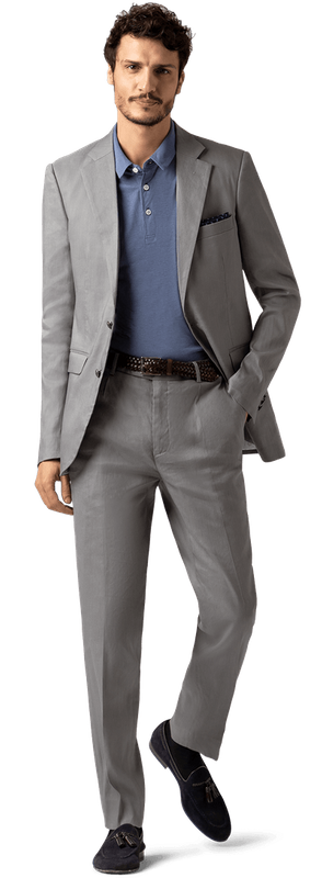 charcoal suit with loafers