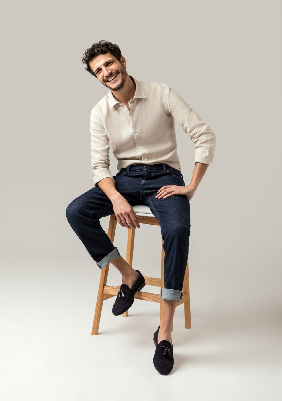 men jeans with loafers