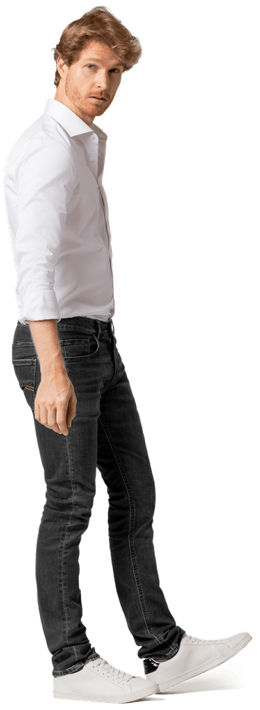 black jeans with white shirt men