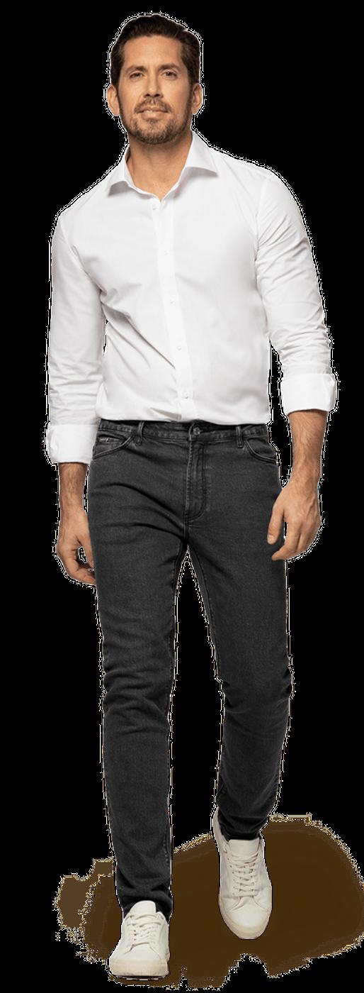 black jeans white shirt