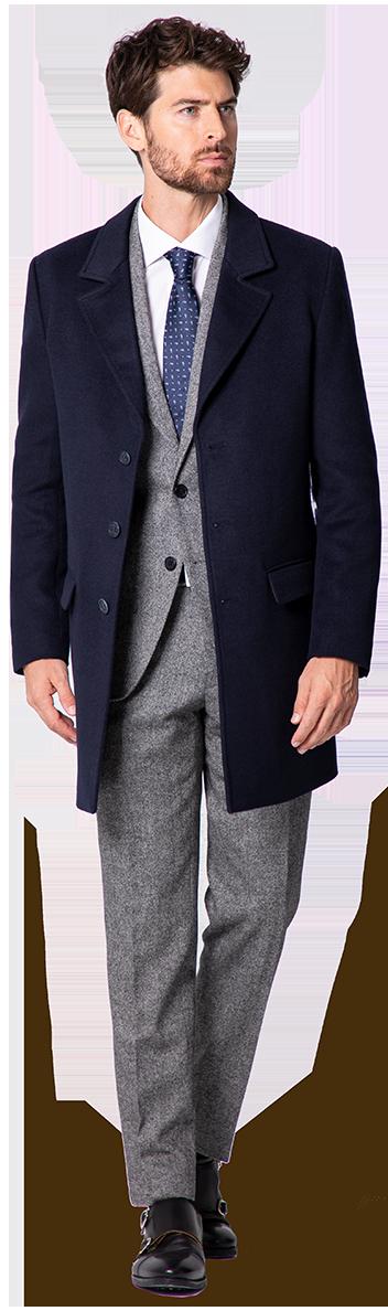 blauer herren mantel