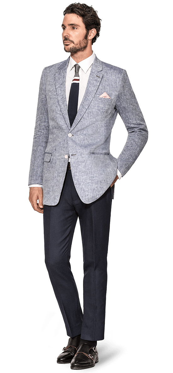 men linen blue blazer