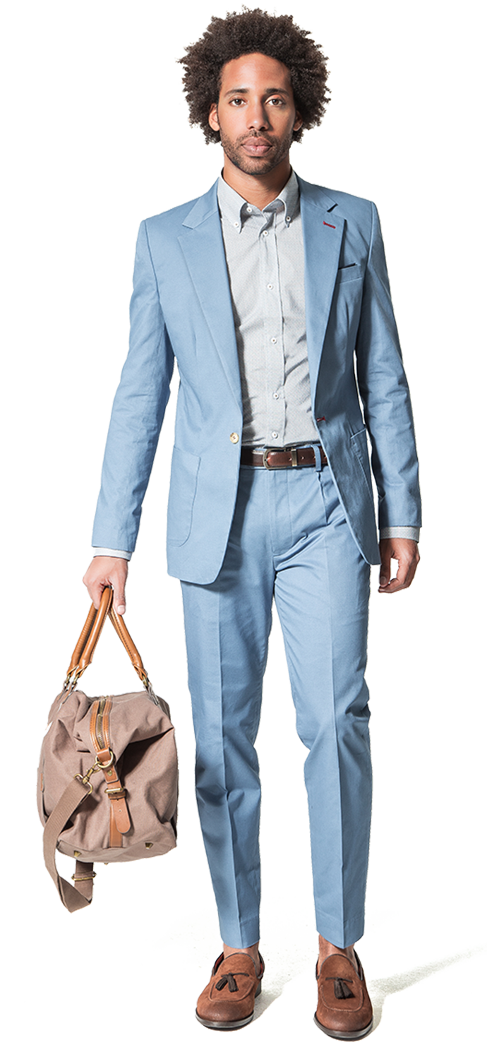 light blue casual suit