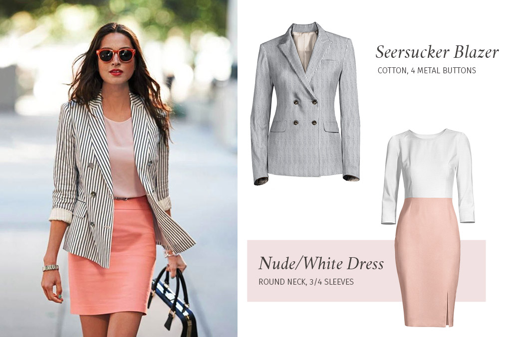 striped blazer over dress